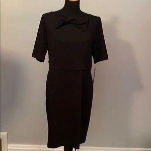 Dana Buchman Black Dress NWT Unique Neckline